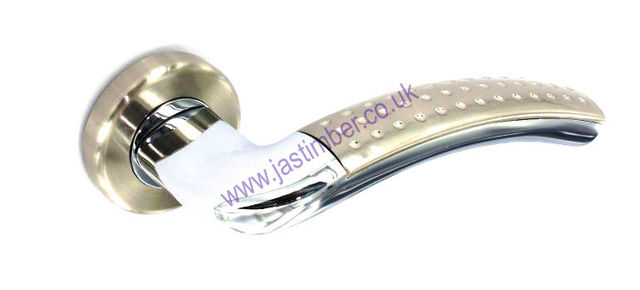 Securit B3481/S3481 DIMPLE LEVER Chrome DOOR HANDLE on 54mm Rose SN/CP