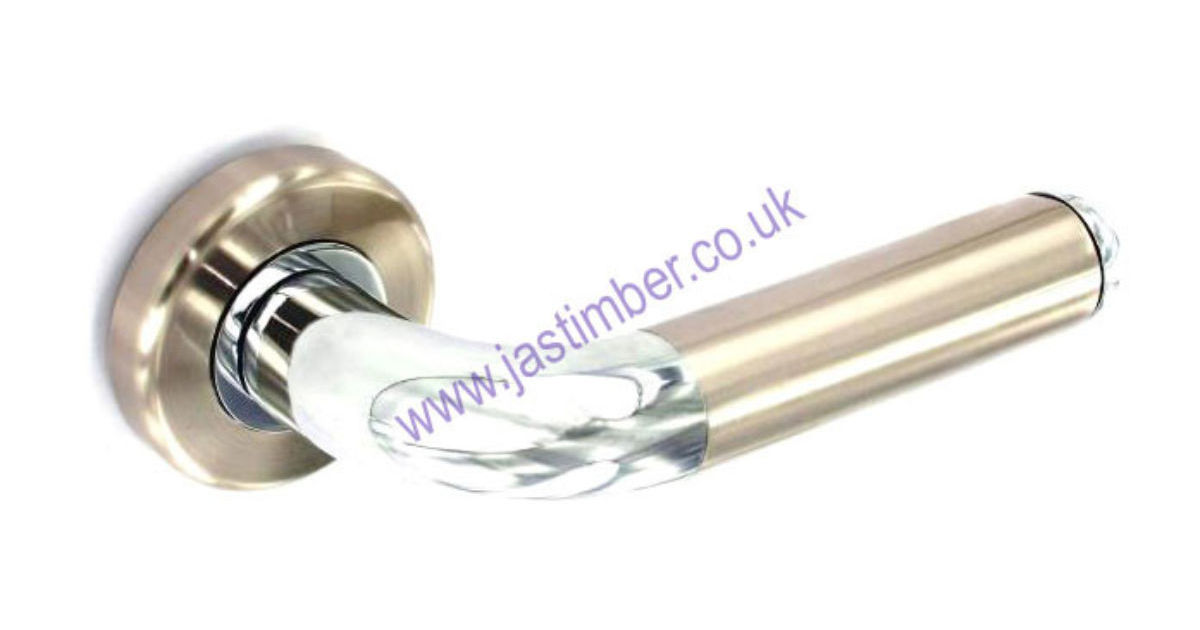 Securit B3480 & S3480 CLASSIC LEVER DOOR HANDLE on 54x10mm Rose SN/CP