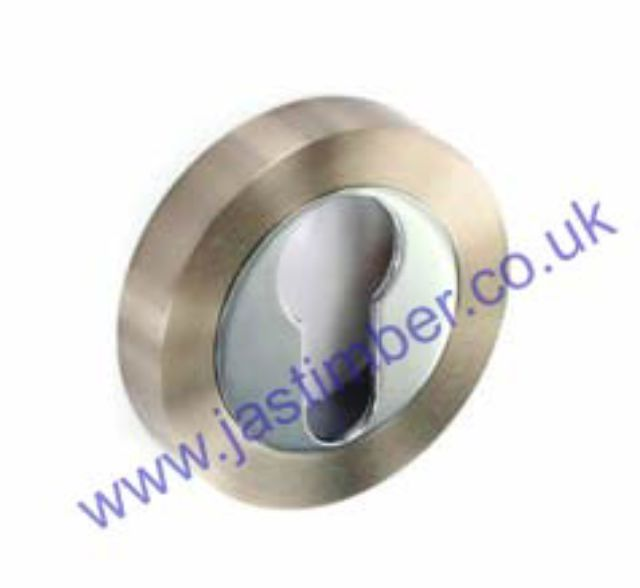 Securit S3476 PREMIER Door Handle EURO ESCUTCHEON on 50mm Round Rose  - SN/CP