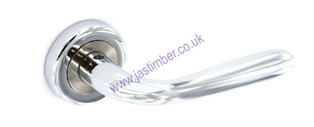 Securit S3485 SOLAR LEVER DOOR HANDLE on 50mm Round Rose  - Chrome