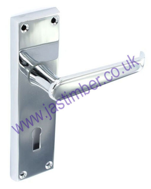 Securit S2920 Victorian Lever Lock Door Handle on Backplate - CP