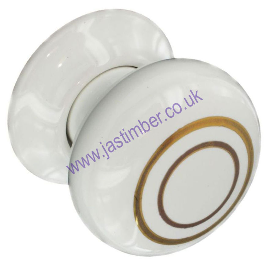 White / Gold Lines Ceramic Door Knob Securit