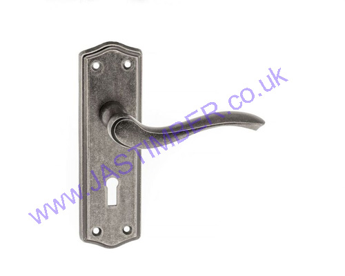 Old English WARWICK Distressed Silver Key Door Handle on Back Plate