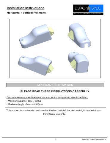 Eurospec® Easi-Exit Pullmans - Fitting Instructions Leaflet