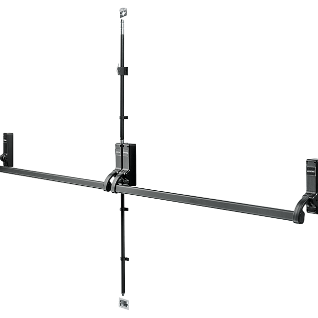 Double-Door Panic-Bolt with PushBars - Black - Hoppe® AR888-BL