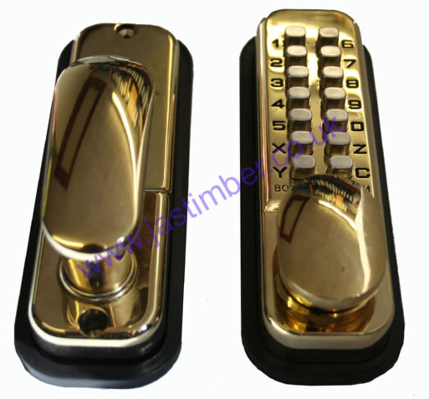 Borg 2201PB Push-Button Lock with Holdback - Brass