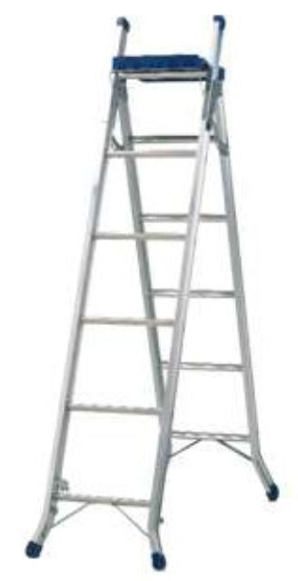 BLUE SEAL 3 WAY ALUMINIUM COMBINATION LADDER WITH WORK TRAY