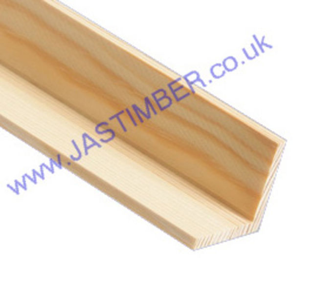 50mm Corner Bead : Square ( approx 44x44mm square x 2.4 metre ) Pine Moulding - JAS Workshop