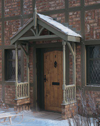 Apex Timber Porch Canopy with Turned Dwarf Wall Side-Rails
