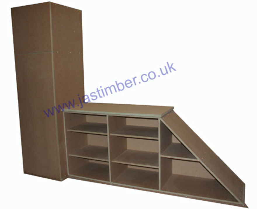Under-Stair Shelves and Cupboard - Made to Size in MDF