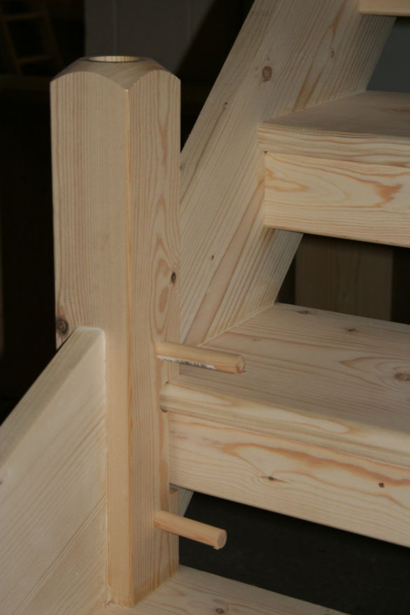 Open Tread Stairs fitted with Pine Newel Base; Image 1433.5