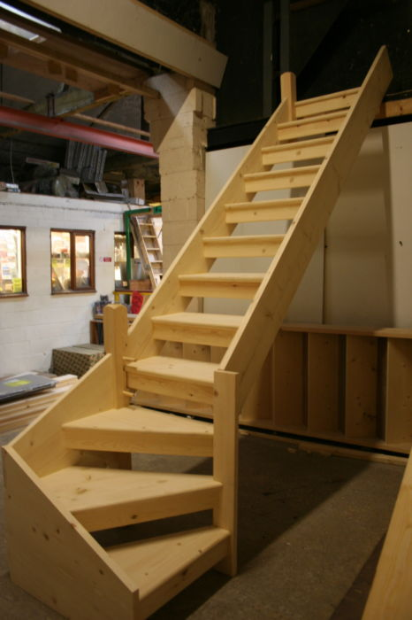 Softwood Open Tread Stairs with Kite-Winder and Newel; Image 1433.2