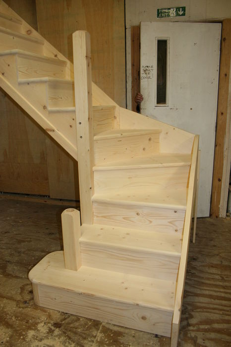 Staircase with Kitewinder - Curtail-step - Newels - Open-string ALL Solid-Pine