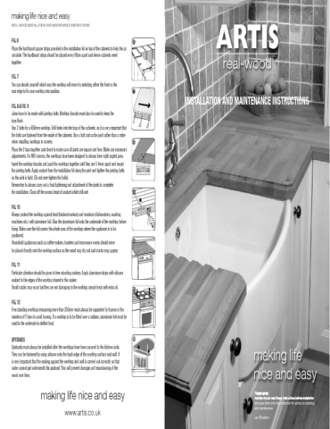 Artis RealWood Worktops Fitting & Care Instructions