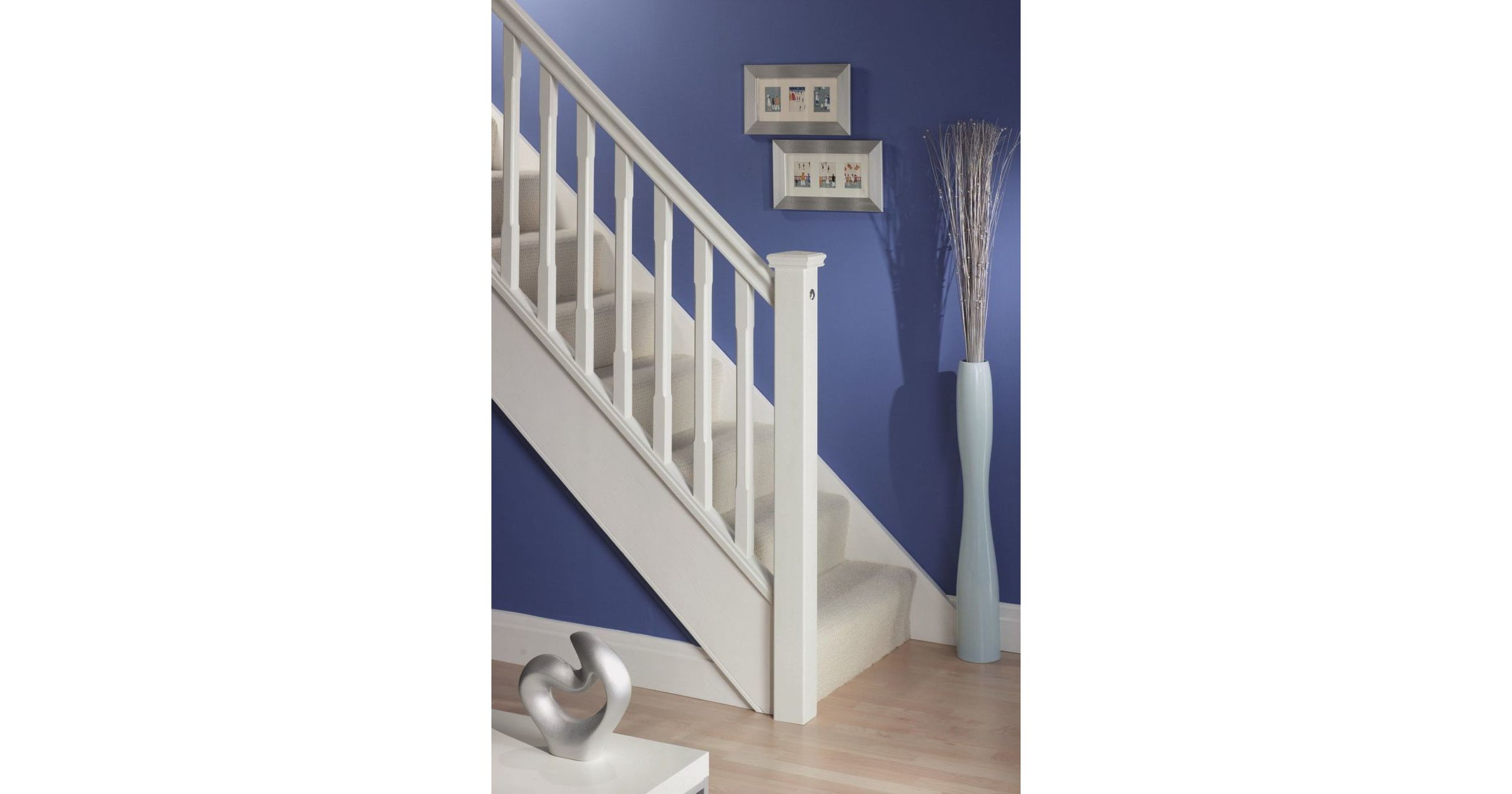 Perfect Stop Chamfered White Spindles · Stop Chamfered White Staircase