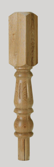 Oak Fluted Newel Turnings 615x91x91mm 202mm Head - FL202O Cheshire Mouldings