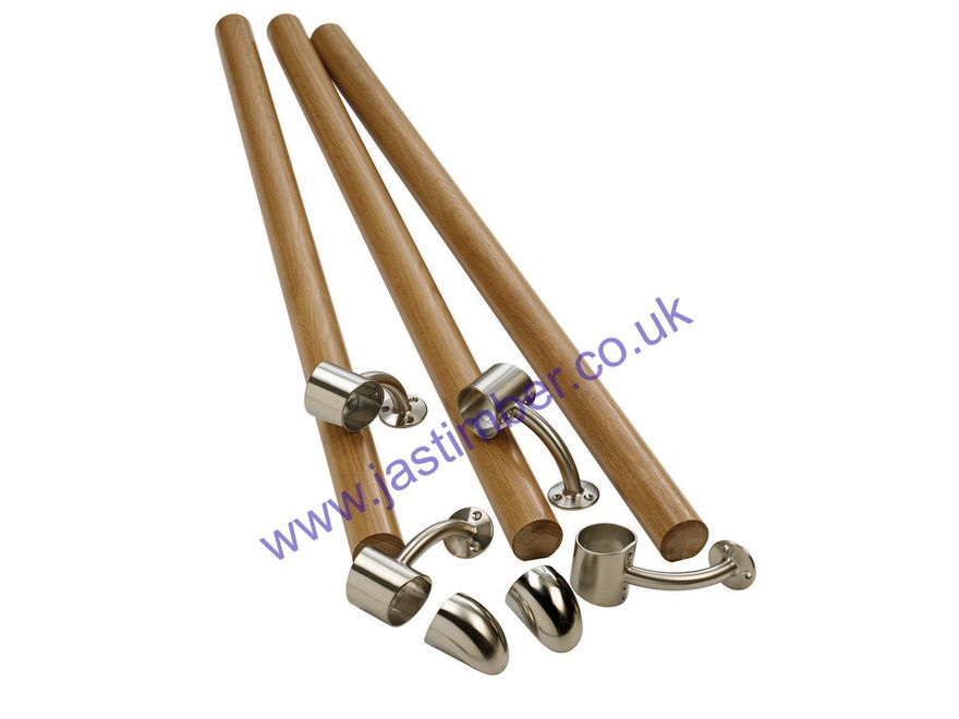 KIT02 FUSION Oak + Brushed-Nickel - Wall-Handrail Pack