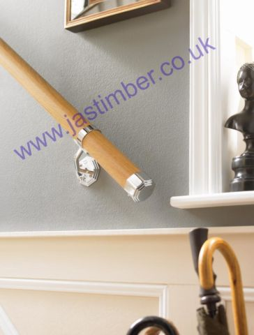 KIT06 OAK + Octagonal Chrome Fittings - Boxed Wall Handrail - set