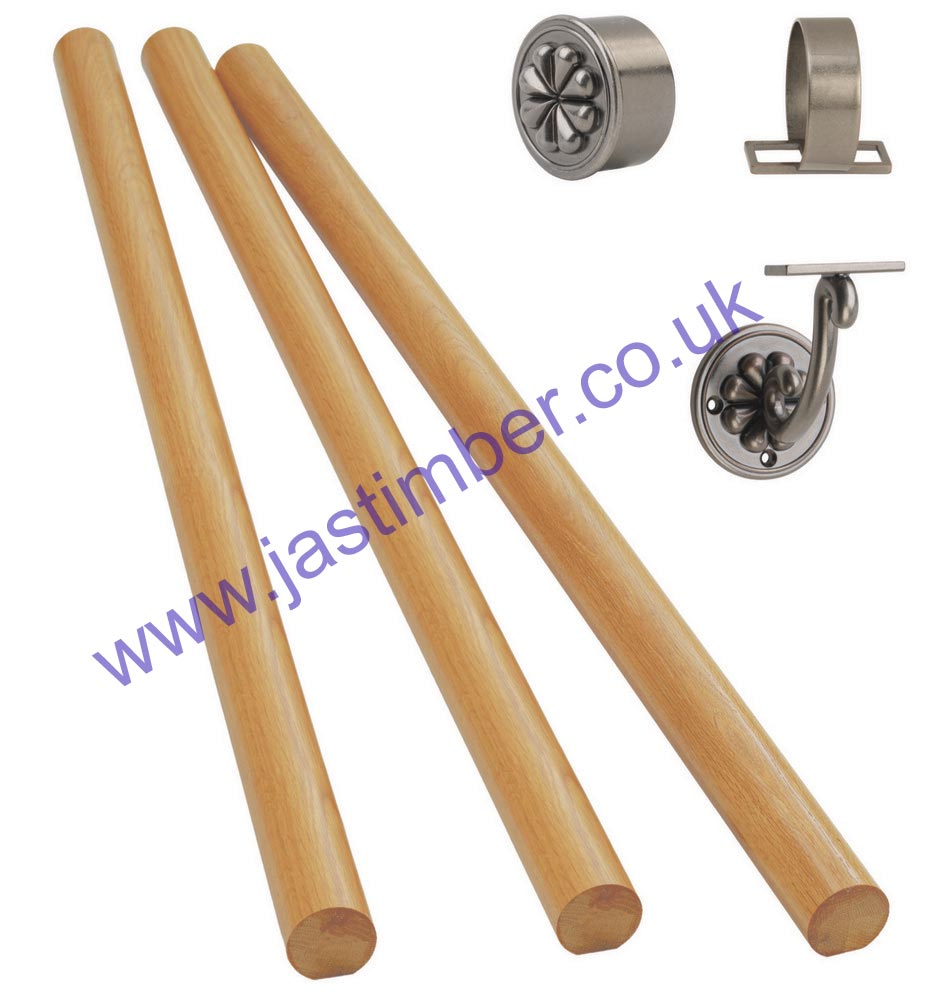 WALL-MOUNTED OAK HANDRAIL with Pewter-effect Petal Fittings - Richard Burbidge KIT07