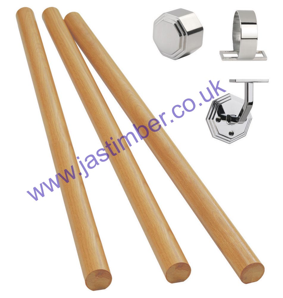 KIT06 Chrome + Oak Boxed Wall Handrail