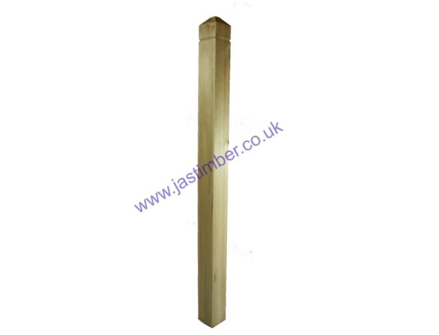 LD251 Treated Decking Square Patrice Newel Post 82x82x1500mm - Richard Burbidge