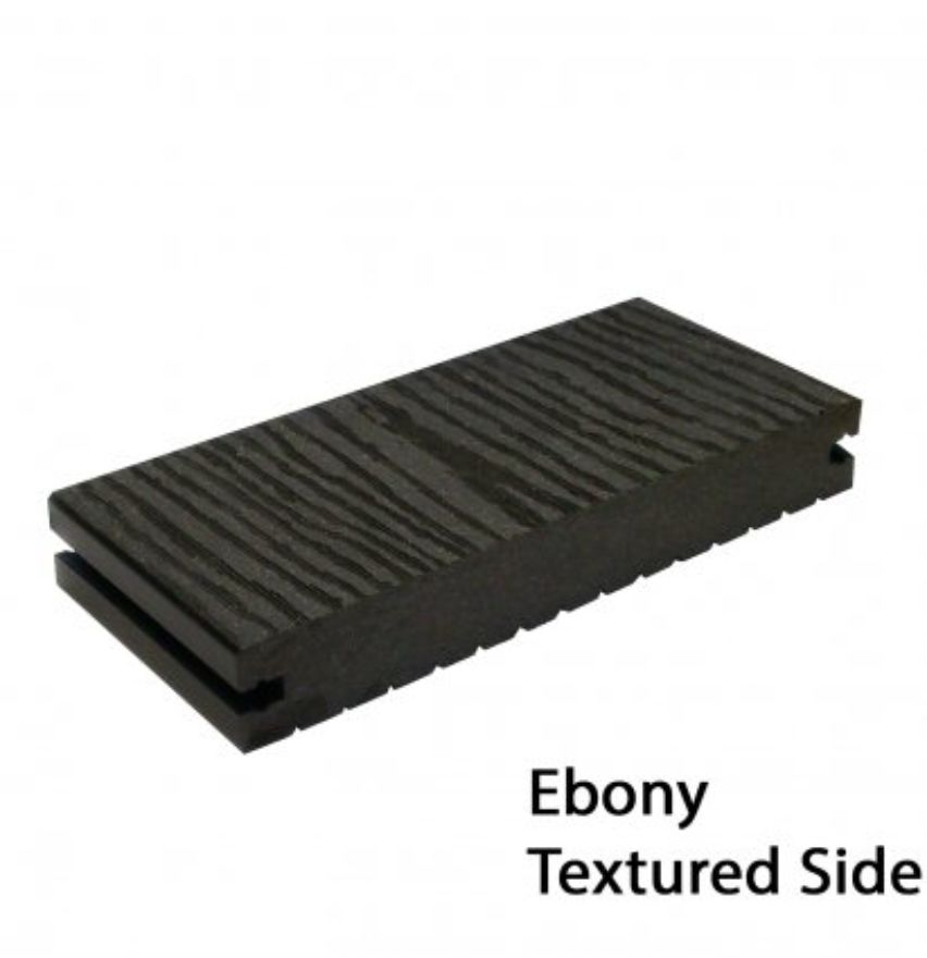 TD002 Solid Decking Board - Solid Ebony - Textured Side