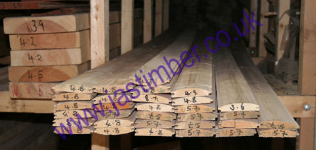 "3.5"" Log-Lap Cladding (87x19mm) Knotty-Pine Whitewood"