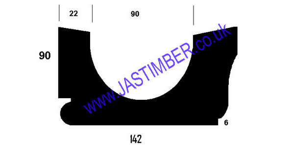 6x4 Treated Wood Gutter Size 140mm X 90mm