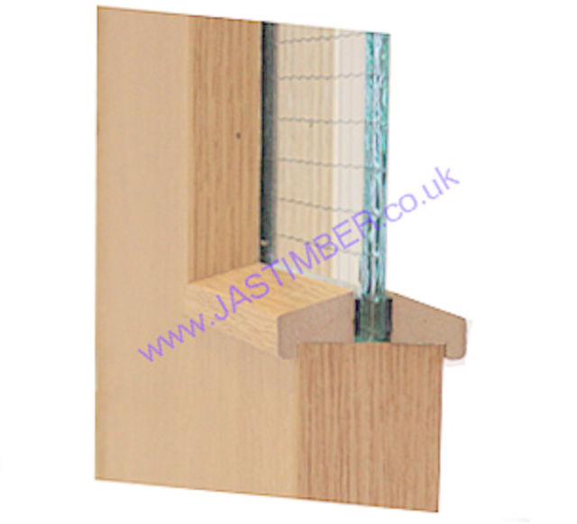 Hockey Stick FD30 Glazing-Bead 21x24mm x 3 metre cut to 2 lengths - Ash-Foil MDF