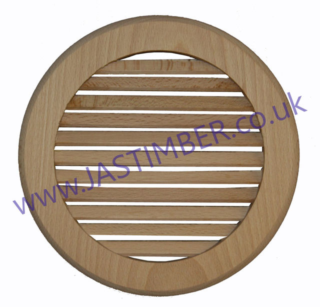Louvre Vent - Solid Timber Round Grille - Solid Beech 200mm dia. x 12mm VG14 Winther Browne Clearance